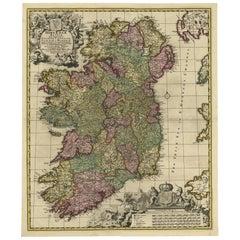 Antique Map of Ireland by N. Visscher, circa 1700