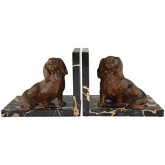 Art Deco Bronze Bookends King Charles Spaniel Dogs by Louis Albert Carvin, 1930