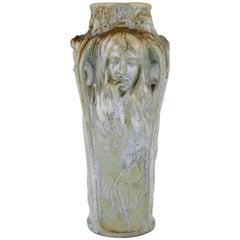 Art Nouveau Vase Four Women's Faces Four Seasons Michelet for Gentil & Bourdet