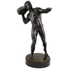 Antique Bronze Sculpture Male Nude with Stone Hugo Siegwart H. 36 inch