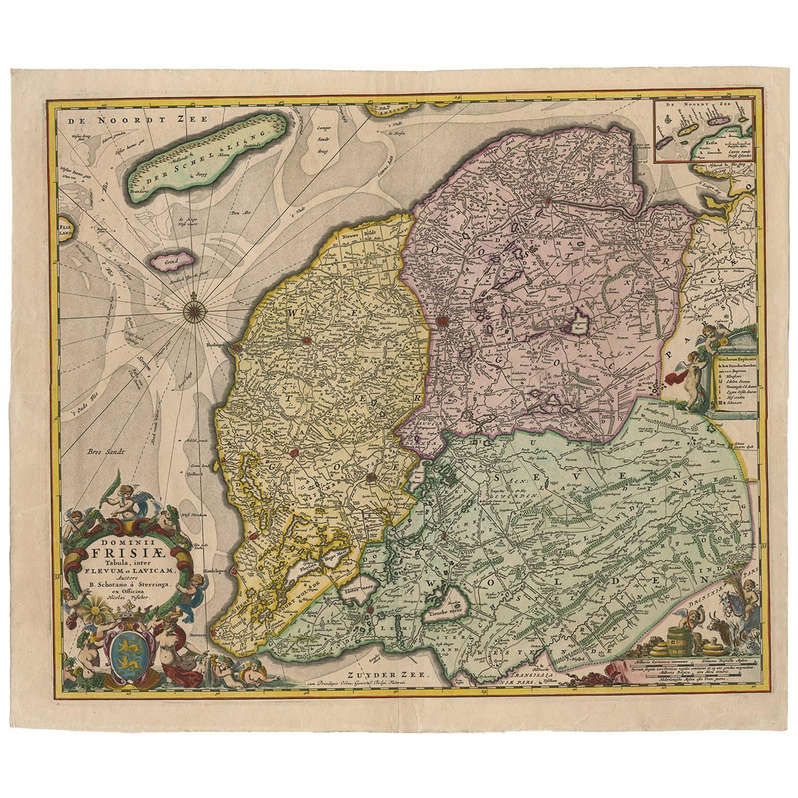 Antique Map of Friesland 'The Netherlands' by N. Visscher, circa 1670