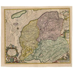 Antique Map of Friesland 'The Netherlands' by N. Visscher, circa 1670