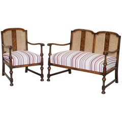 Vintage Suite Walnut & Cane Armchair and Bench Sofa Liberty William Morris Style