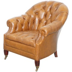 Vintage Chesterfield Aged Brown Leather Club Armchair Beech Legs Brass Castors