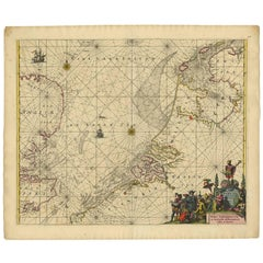 Antique Sea Chart of the North Sea by F. de Wit, 1675