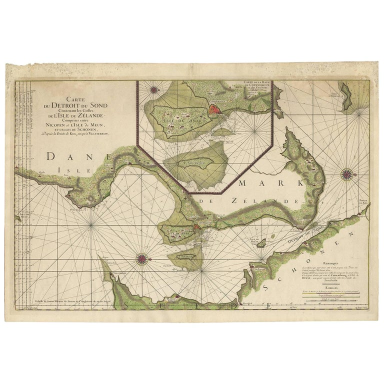 Antique Sea Chart of the coasts of Denmark and Sweden by C.A. Berey, 1720