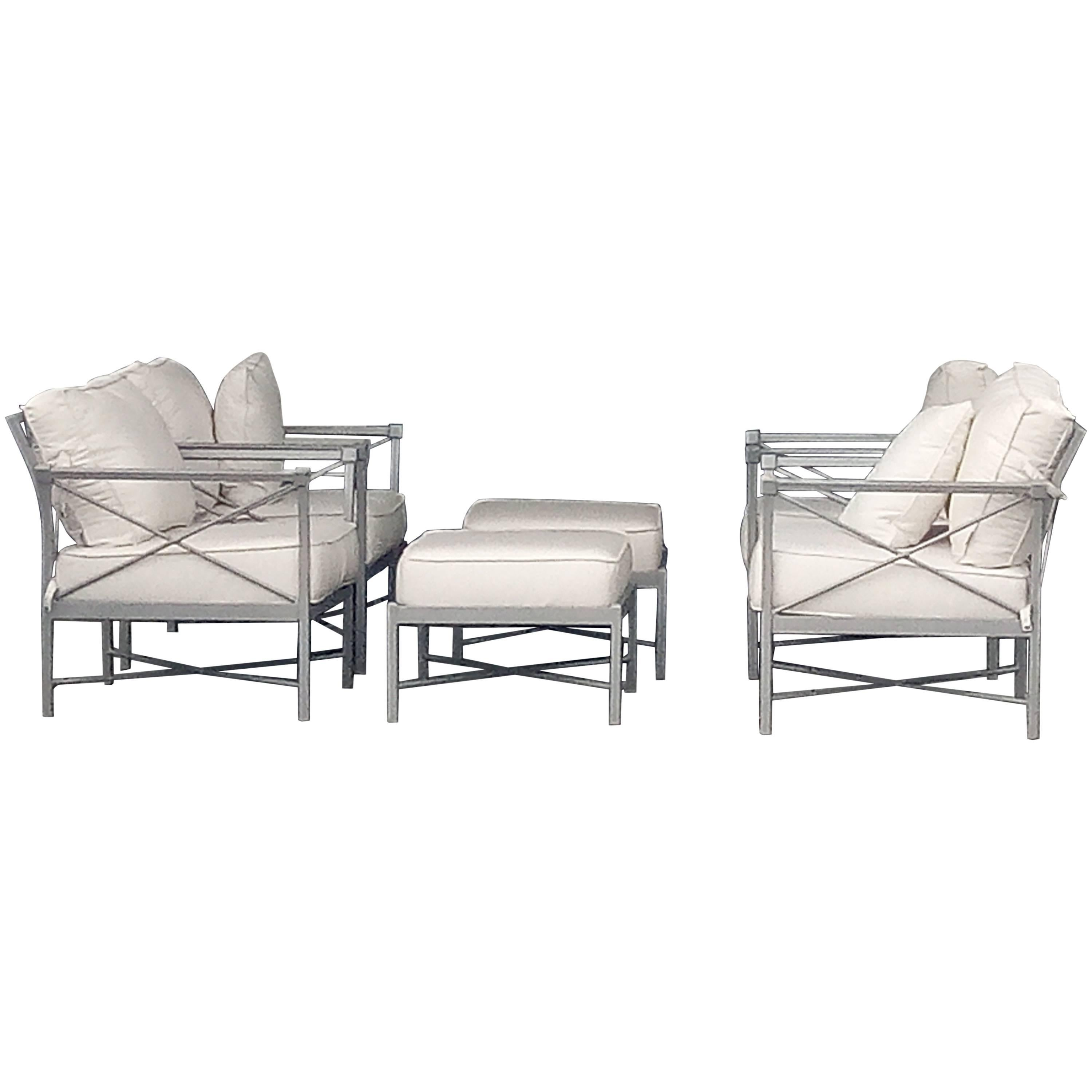 Mid century modern set six garden lounge chairs and ottoman chic x design for sale at 1stdibs