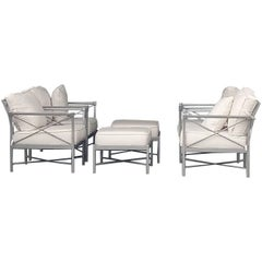 Mid-Century Modern Set Six Garden Lounge Chairs and Ottoman-Chic X-Design