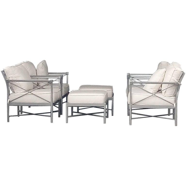 mid century modern set six garden lounge chairs and ottoman chic x