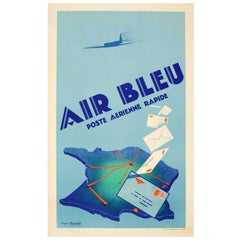 Original Vintage Art Deco Poster for Air Bleu Poste Aerienne Rapide Air Mail