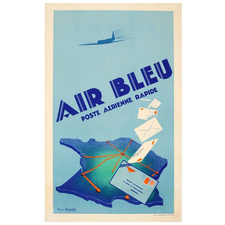 Original Vintage Art Deco Poster for Air Bleu Poste Aerienne Rapide ...