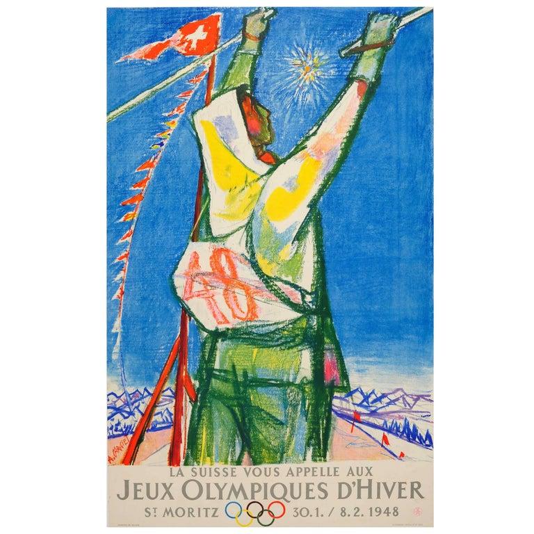 Original Vintage Ski Poster for 1948 St Moritz Winter Olympic Games Switzerland