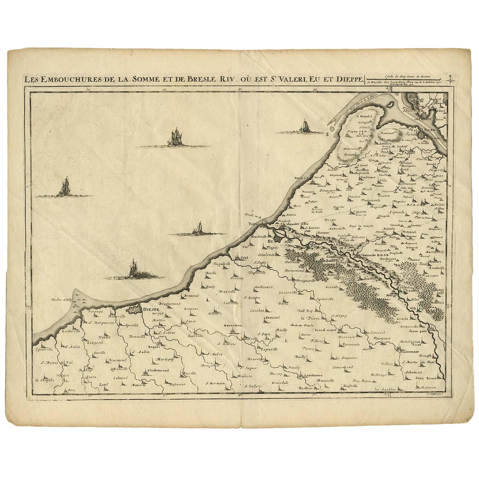 Antique Map of the Coast of France by J. Harrewijn, 1710