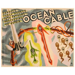 Original 1935 GPO General Post Office Ocean Cable Poster - Damaged Cable Hooked
