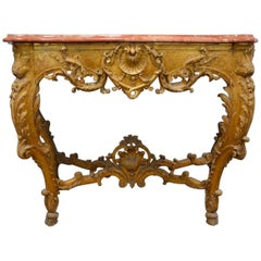 19th Century French Gilt Marble-Top Console Table in Louis XV Style