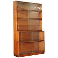 1960s Simplex Mahogany Full Sized Library Stacking Bookcases Five-Piece