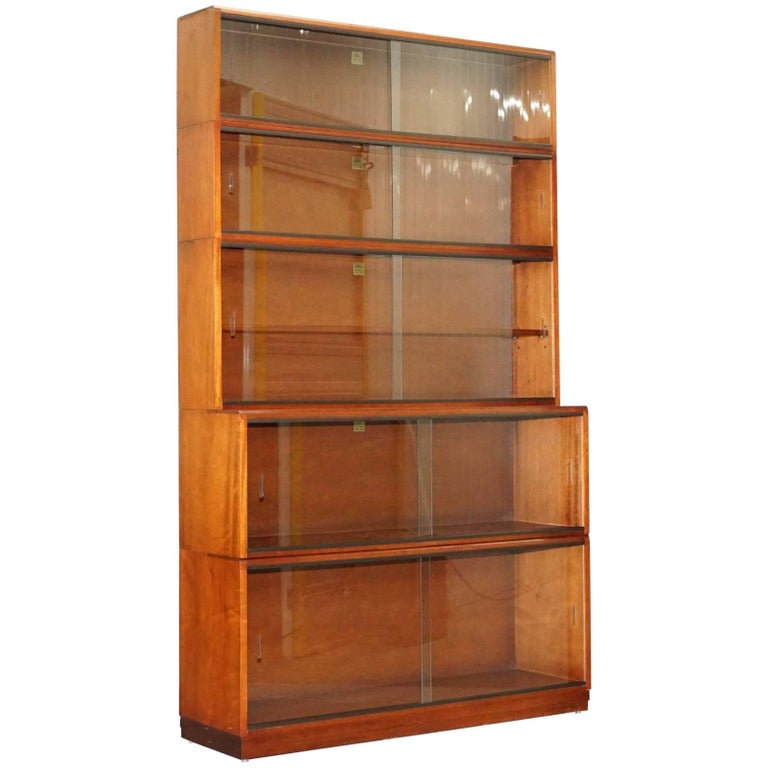 1960s Simplex Mahogany Full Sized Library Stacking Bookcases Five-Piece For Sale
