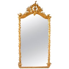 19th Century Grand Antique French Giltwood Crystal Mirror