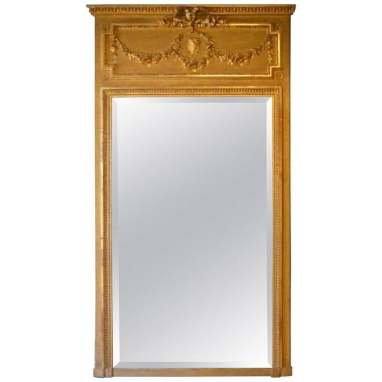 19th Century Grand Antique French Handcrafted Gilded Mirror