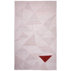 Anatolian White, Holy Triangle -V, A Contemporary Kilim by Seref Ozen