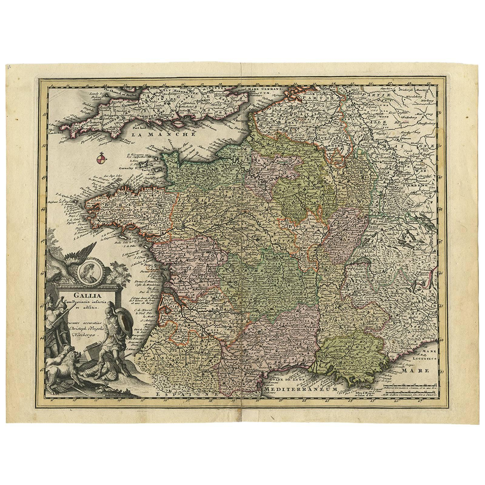 Antique Map of France by C. Weigel, 1719