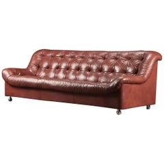 Vintage Red Cushioned Leather Sofa