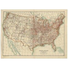 Antique Rail Road Map of the United States by Scribner & Sons, 1889