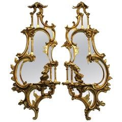 Chinese Chippendale Style Mirrors with Ornately Carved Wooden Gold- Tone Frames