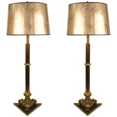 Early 20th Century Pair of Neoclassical Style Bronze Lamps