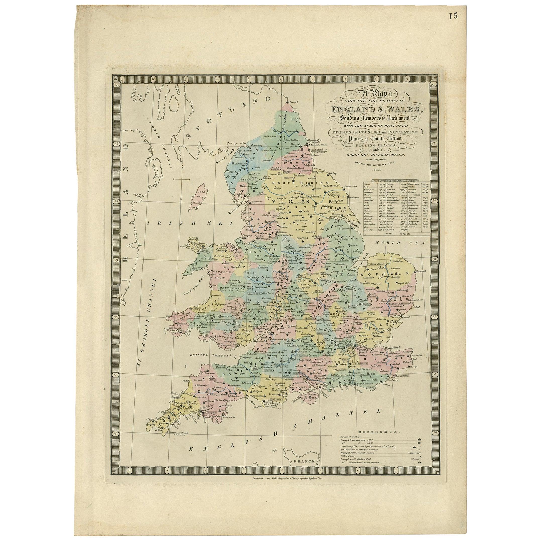 Antique Map of England and Wales by J. Wyld, 1844