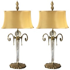 Pair of Tall Italian Crystal Lamps with Custom Silk Shades