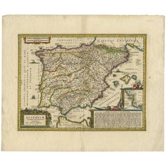 Antique Map of Spain and Portugal by J. Janssonius, 1638