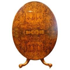 Victorian Burr Walnut Oval Dining Table