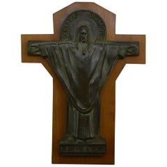 French Art Deco Bronze Crucifix by Jeanne Ferrer, 1930