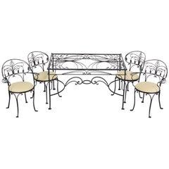 5 Piece Salterini Florentine Wrought Iron Dining Set, 1940