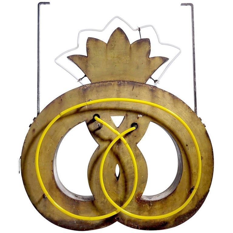 Early European Double Sided Neon Pretzel Sign