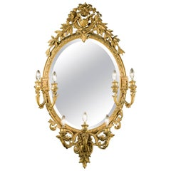 Large Oval Girandole Mirror, French, Mid-19th Century