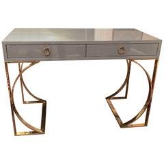 Ultra Sleek Grey Lacquered Desk with Curvy Brass Legs