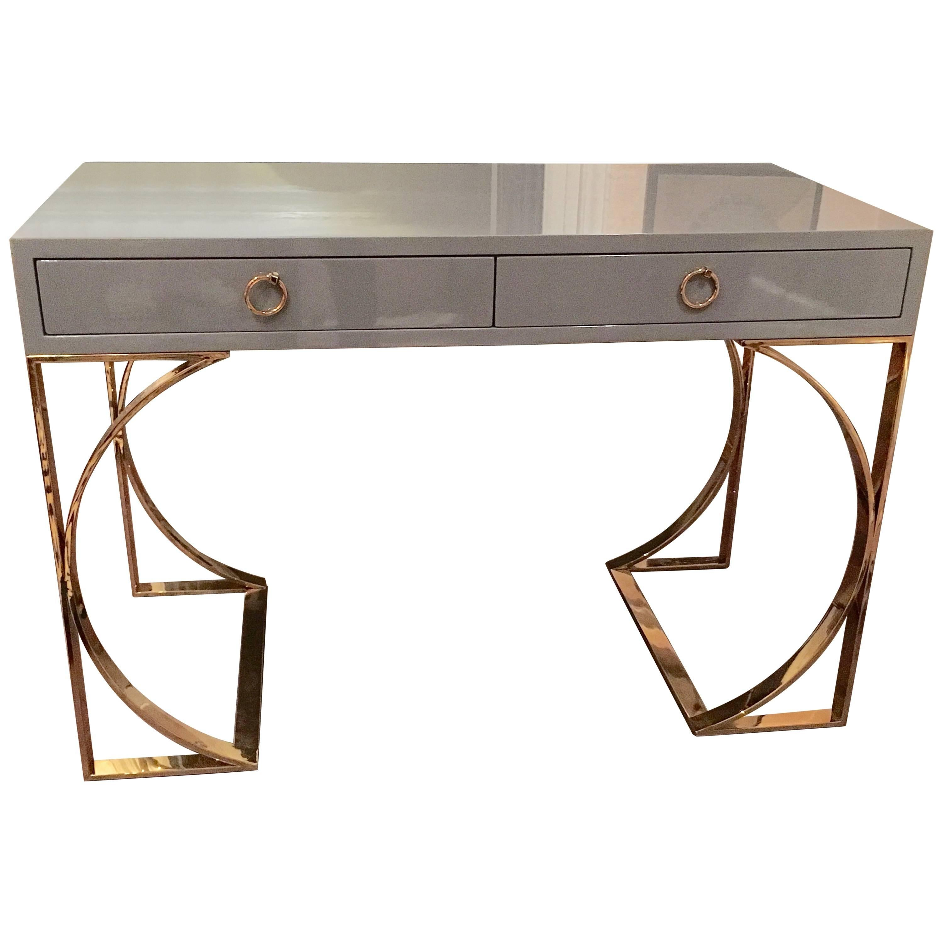 Ultra Sleek Grey Lacquered Desk With Curvy Brass Legs For Sale