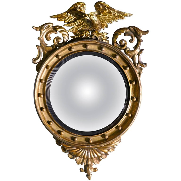 Large Regency Convex Gilt Wall Mirror For Sale