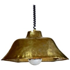 Brass Chrome Retractable Hanging Lamp, Italy, 1974