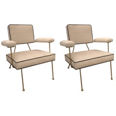 Pair of Solid Brass Framed Low Armchairs