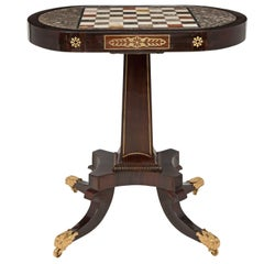 English 19th Century Regency Period Rosewood and Marble Specimen Side Table