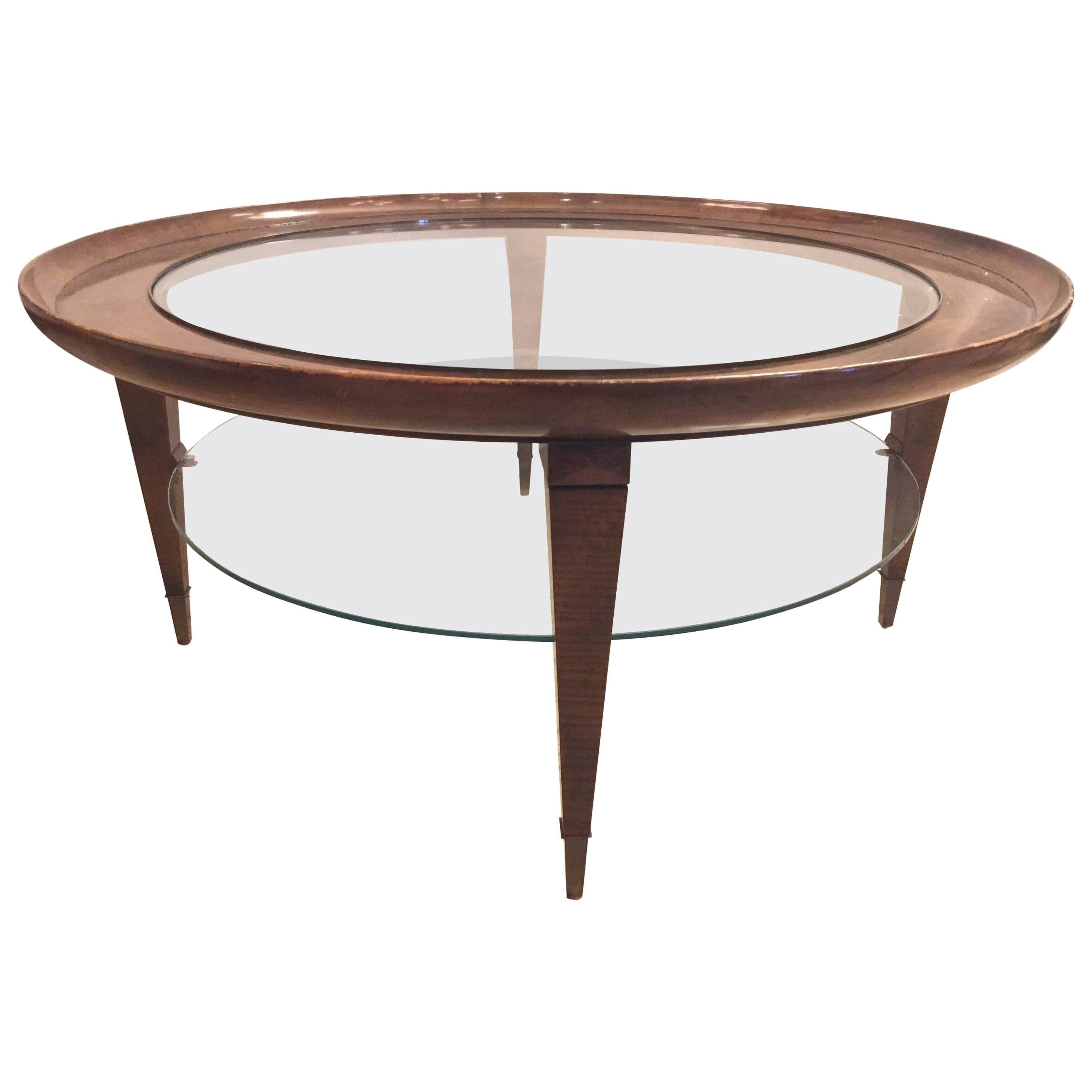 Ponti Style Round Two Tiered Coffee Table