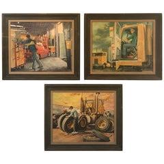 Set of Three Industrial Occupational Transportation Illustration Oil Paintings