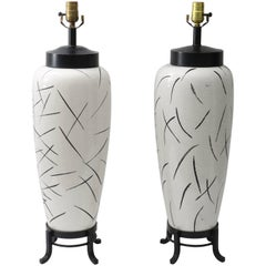 Pair of Table Lamps, Vase Form in Black and White