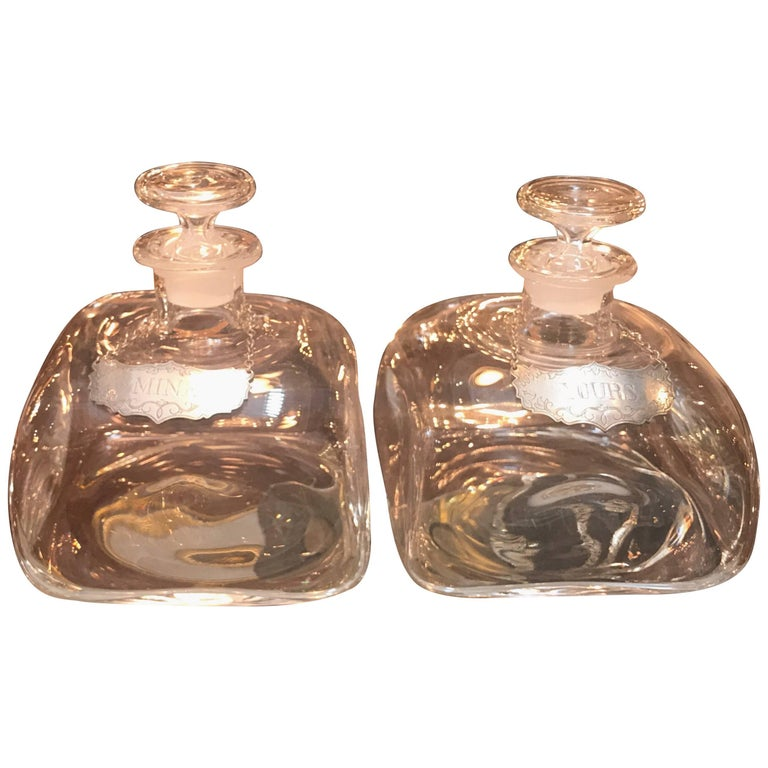 Pair of Blown Glass Spirit Decanters with Pewter Labels