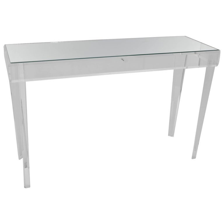 Lucite and Glass Rectangular Console Table