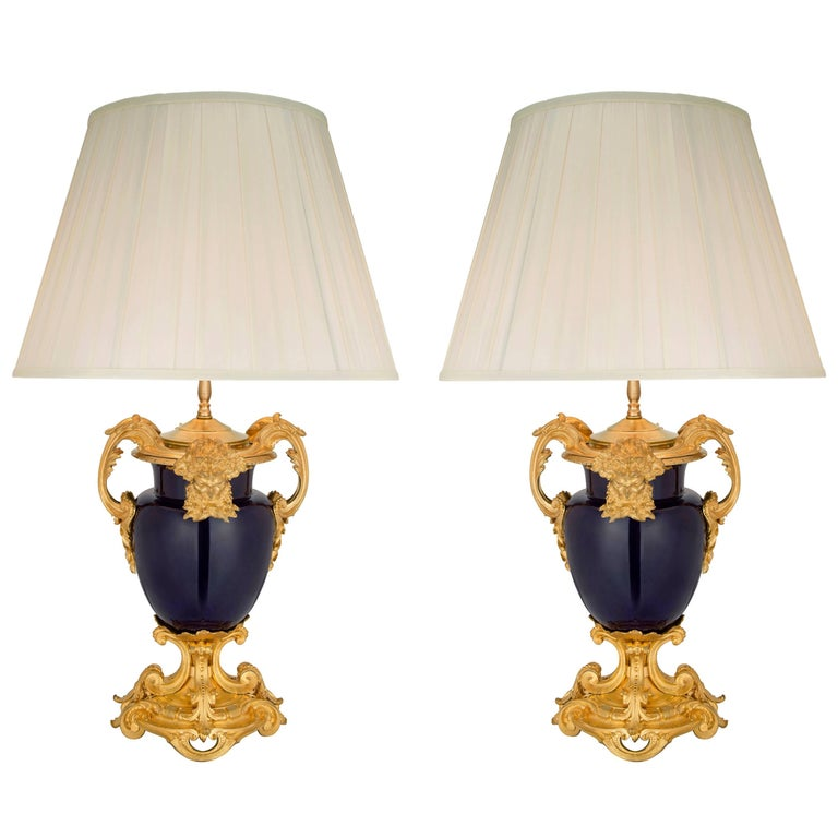 French 19th Century Louis XVI Style Ormolu and Cobalt Blue Porcelain Lamps