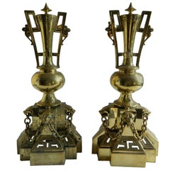 Pair of Polished Brass Chenets or Andirons, Panther Heads Motif, 19th Century